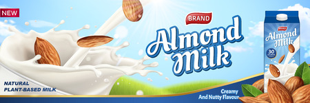 Almond milk ads with liquid pouring down into glass cup and package design on the right side, 3d illustration