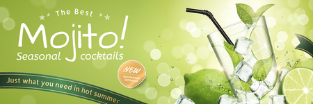 Mojito seasonal cocktails ads with refreshing fruit and ice cubes on green glitter bokeh background, 3d illustration Иллюстрация
