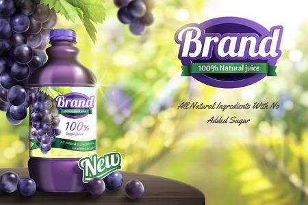 Grape bottled juice on wooden table in bokeh orchard scene in 3d illustration