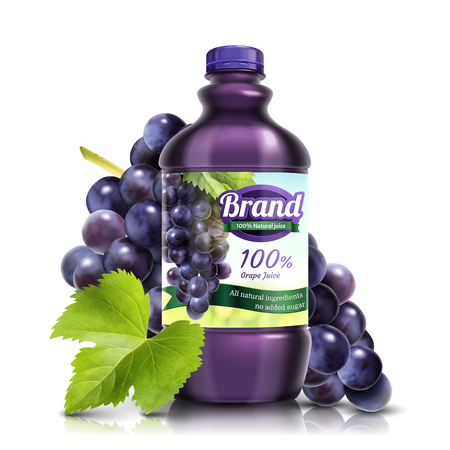 Fresh grape bottled juice with fruit and leaves in 3d illustration on white background