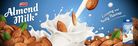Almond milk ads with splashing liquid and heap of seeds on blue background in 3d illustration