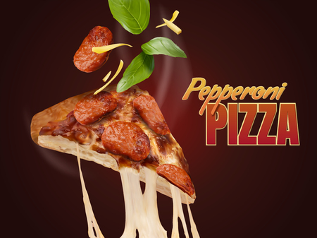 Pepperoni pizza with stringy cheese in 3d illustration, delicious food design element