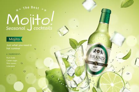 Annunci di cocktail stagionali Mojito con frutta rinfrescante e cubetti di ghiaccio che volano in aria su sfondo bokeh glitter verde, illustrazione 3d Vettoriali