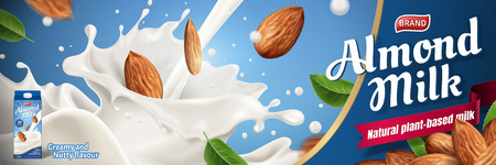 Almond milk ads with splashing liquid and seeds on blue background in 3d illustration