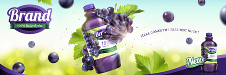 Grape bottled juice ads with fresh fruit floating in the air on nature bokeh background in 3d illustration