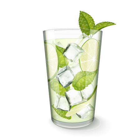 Mojito drink in glass cup on white background in 3d illustration