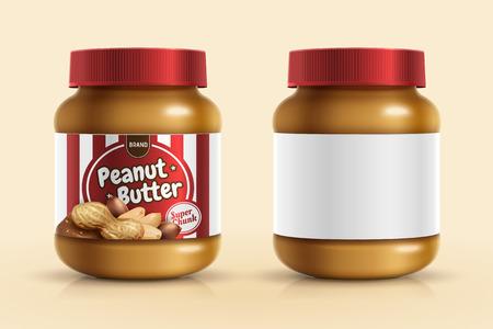 Modello di mockup spalmato di burro di arachidi con etichetta vuota in illustrazione 3d
