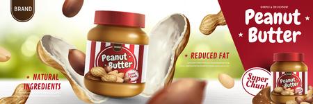 Erdnussbutteraufstrich erschien von der Nussschote in der 3D-Illustration, Bokeh-Hintergrund