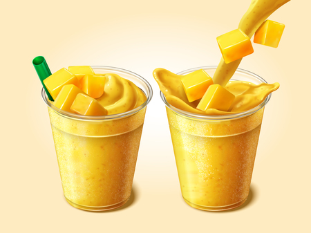 Mango juice or smoothie pouring into transparent takeaway cup in 3d illustration, set of fresh beverage