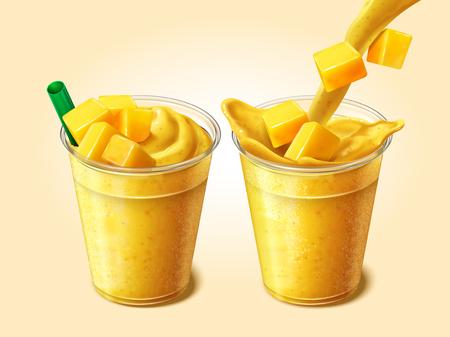 Succo di mango o frullato che versa nella tazza trasparente da asporto nell'illustrazione 3d, set di bevanda fresca