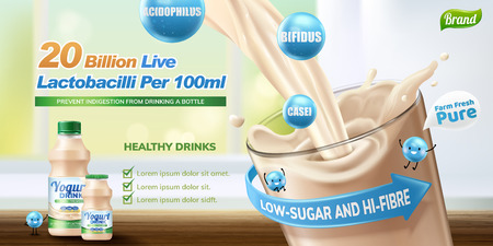 Probiotic or yogurt drink pouring into a glass cup in 3d illustration, bokeh background