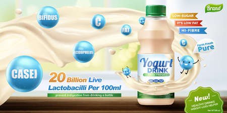 Bottled probiotic or yogurt drink with swirling liquid and cute blue creatures in 3d illustration, bokeh background