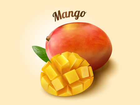 Ripe mango fruit and cubes in 3d illustration