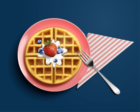 Delicious belgian waffle design element with delicious fruit and cream in 3d illustration on blue background, top view