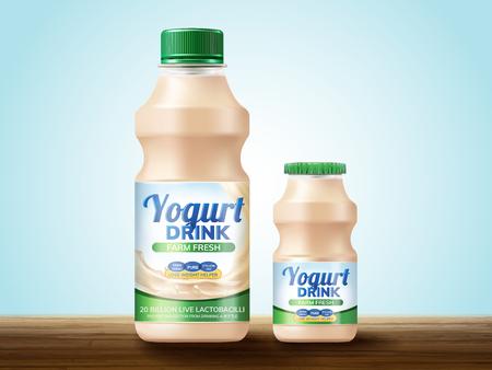 Probiotic or yogurt drink package design on wooden table, 3d illustration