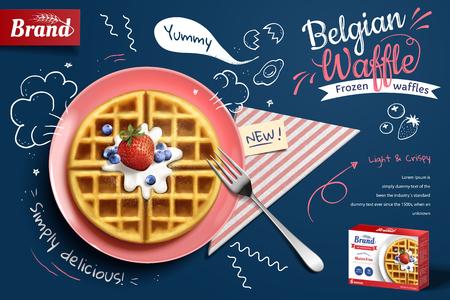 Annunci di cialda belga con deliziosa frutta e crema nell'illustrazione 3d su sfondo blu doodle, vista dall'alto