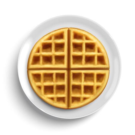 Elemento di design waffle belga su piatto bianco in illustrazione 3d, vista dall'alto Vettoriali