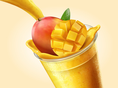 Mango juice or smoothie pouring into transparent takeaway cup in 3d illustration