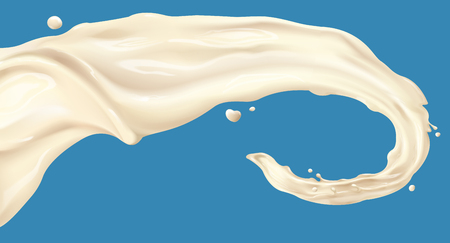 Probiotic or yogurt drink liquid floating in the air in 3d illustration, blue background Illustration