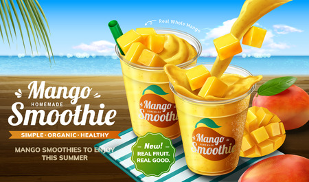 Mango smoothie pouring into takeaway cup with fresh fruit on beach background in 3d illustration Vectores