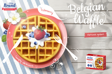 Belgian waffle ads with delicious fruit and cream in 3d illustration on outdoor white wooden table, top view 일러스트