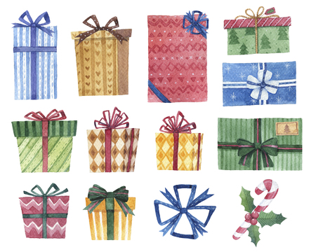 Set of watercolor gifts, eleven different presents package design in hand drawn style for Christmas uses