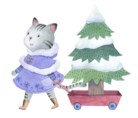 Hand drawn watercolor cat pulling a trailer with christmas tree, design for holiday uses 写真素材