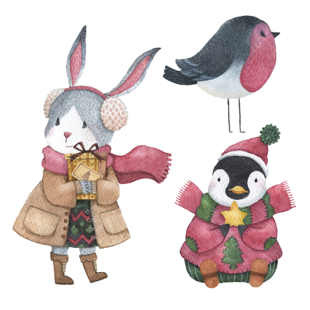 Hand drawn watercolor animals set with rabbit, penguin and bird for christmas uses