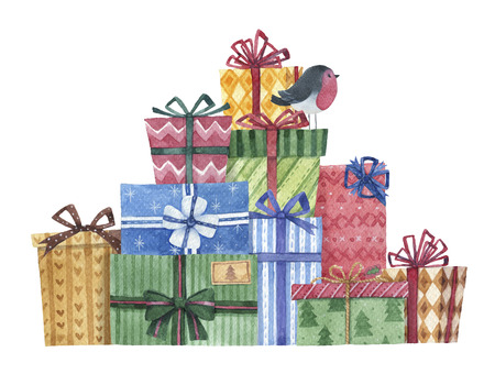 Hand drawn watercolor gift boxes design, a pile of wrapped presents for Chirstmas holiday or birthday party