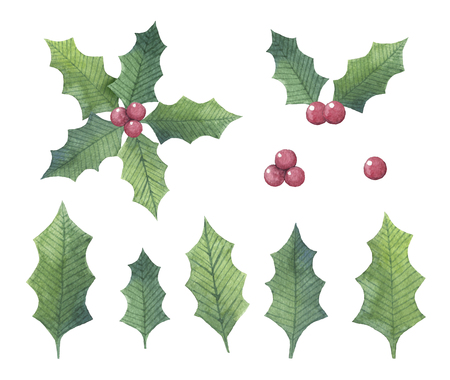 Hand drawn watercolor Holly leaf set in different shapes for Christmas uses Zdjęcie Seryjne