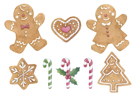 Hand drawn watercolor gingerbread set with different shapes and decorations for Christmas uses