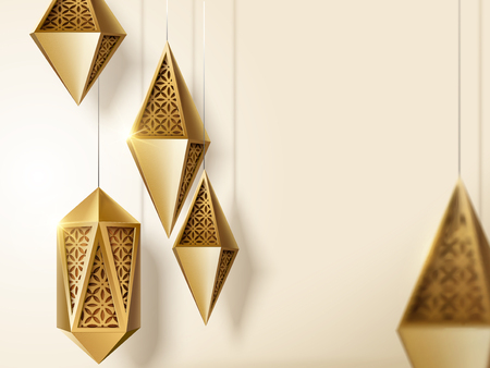 Islamic festival design with golden carved lanterns with copy space in 3d illustration