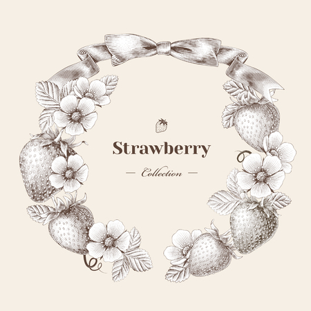 Engraved strawberry and flowers wreath for design use, beige background