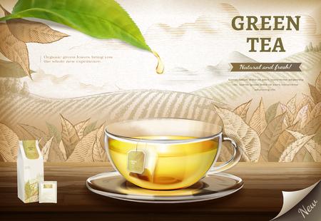 Annunci di bustine di tè verde con tazza di tè in vetro illustrazione 3d su sfondo di piantagione incisa