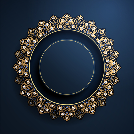 Gorgeous round arabesque frame in blue and bronze color Stockfoto - 112241730