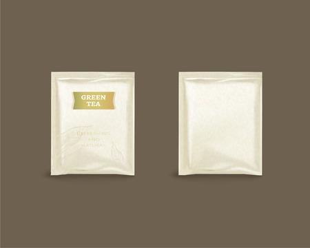 Green tea foil package design in 3d illustration on brown background