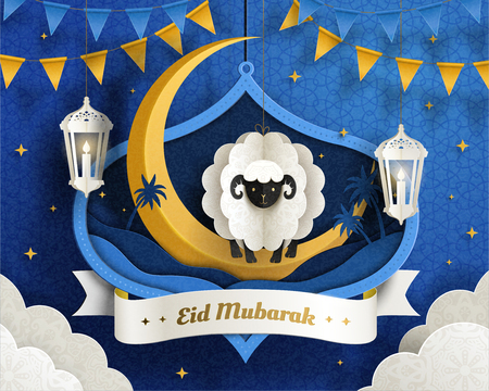 Lovely Eid Mubarak paper art design with hanging sheep and crescent on blue tone