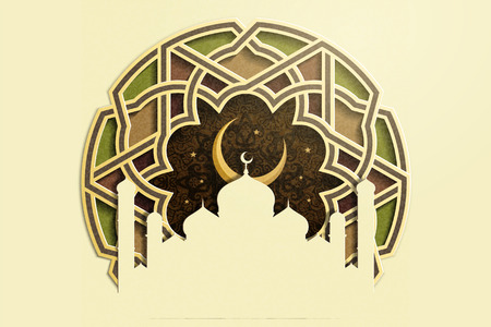 Islamic holiday design with mosque and crescent on carved floral pattern background in paper art style
