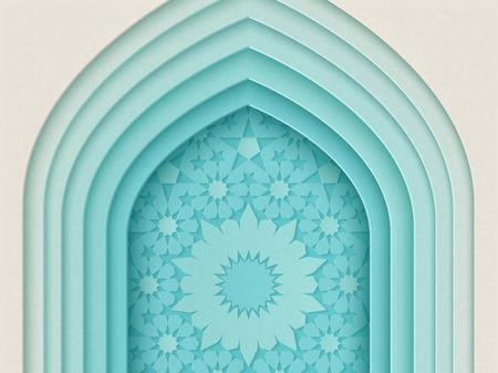 Diseño de festival islámico con fondo de arco de múltiples capas en estilo de papel, ilustración 3d