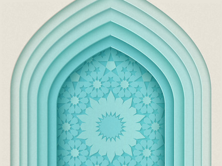 Islamitisch festivalontwerp met de achtergrond van de meerdere lagenboog in document stijl, 3d illustratie