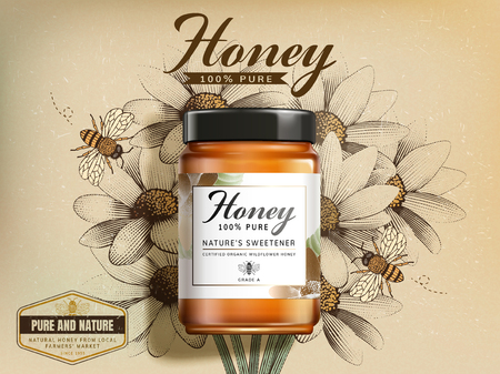 Top view of wildflower honey product in 3d illustration on retro engraved wildflower background