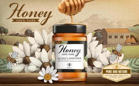 Produit de miel de fleurs sauvages en illustration 3d sur un paysage de campagne gravé Vecteurs