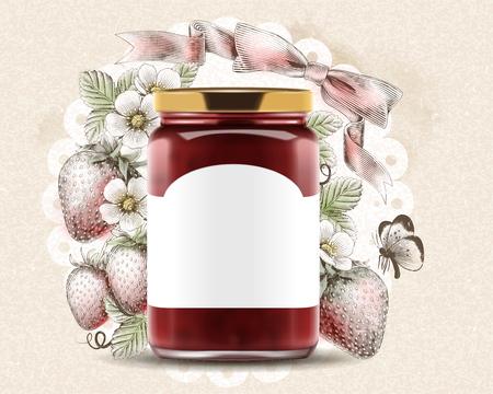 Elegant strawberry jam ads with 3d illustration blank label glass jar on engraved fruity background Illustration