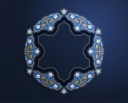 Gorgeous round arabesque frame in blue and bronze color