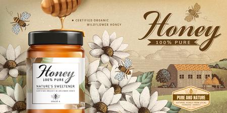 Produit de miel de fleurs sauvages en illustration 3d sur un paysage de campagne gravé