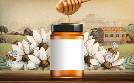 Produit de miel de fleurs sauvages en illustration 3d avec étiquette blanche vierge pour les utilisations de conception sur un paysage de campagne gravé Vecteurs