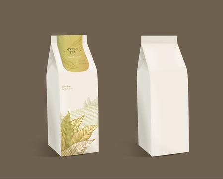 Green tea leaves package design with blank paper bag in 3d illustration Illustration