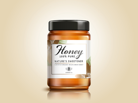 Wildflower honey product package design in 3d illustration