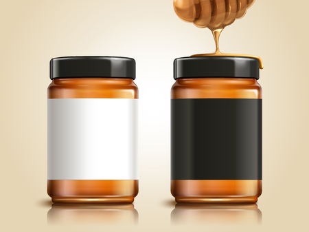 Honey jar with blank labels for design uses in 3d illustration, honey dipper element Ilustracja
