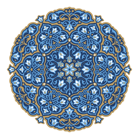 Gorgeous round arabesque pattern in blue and bronze color